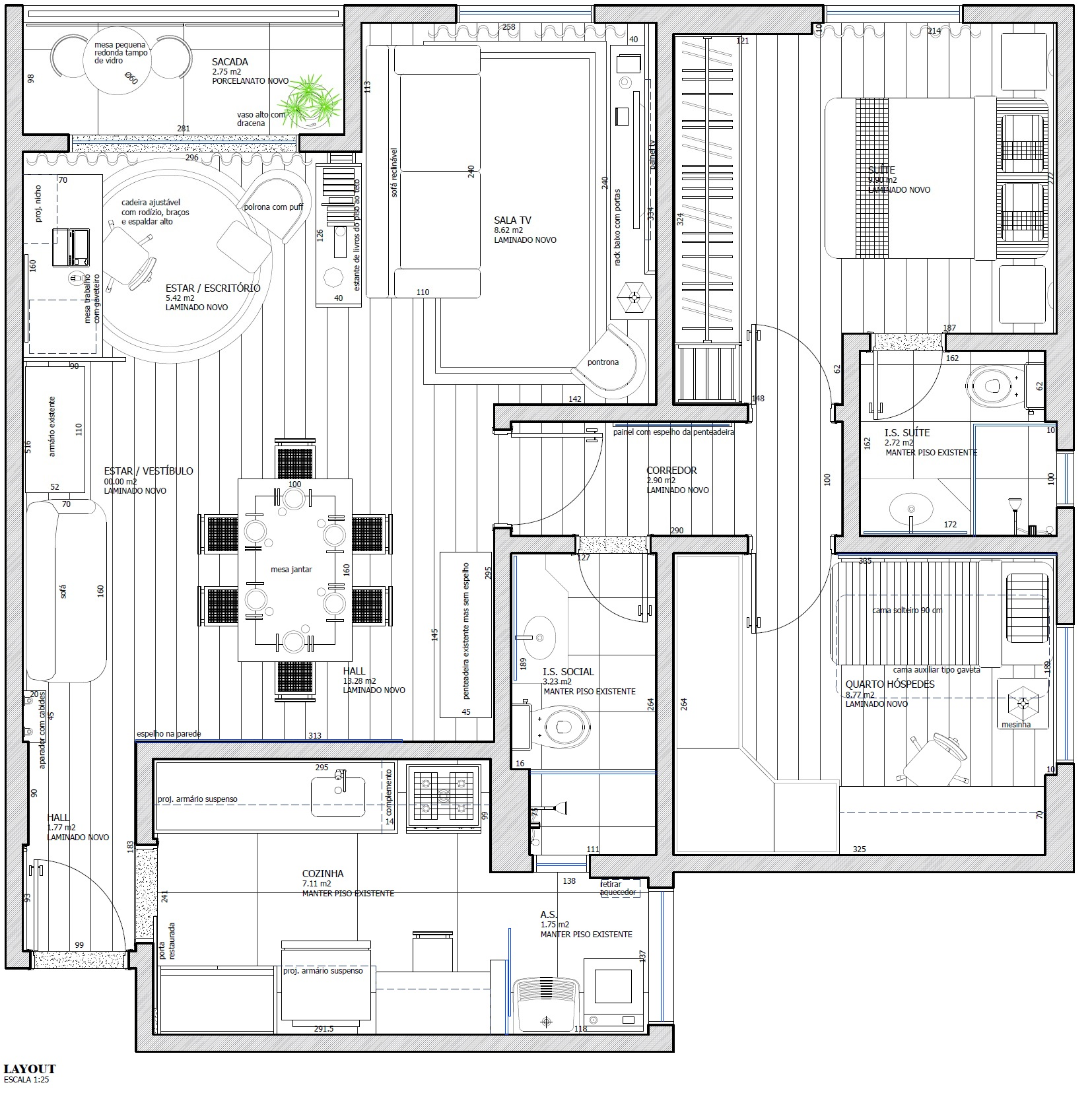 "<p style=""margin-left:0cm; margin-right:0cm""><span style=""font-size:11pt"">Apartamento de 75 m&sup2; com 2 dormit&oacute;rios, 1 su&iacute;te, sala de estar e jantar, cozinha, &aacute;rea de servi&ccedil;o e banheiro social.</span></p>"