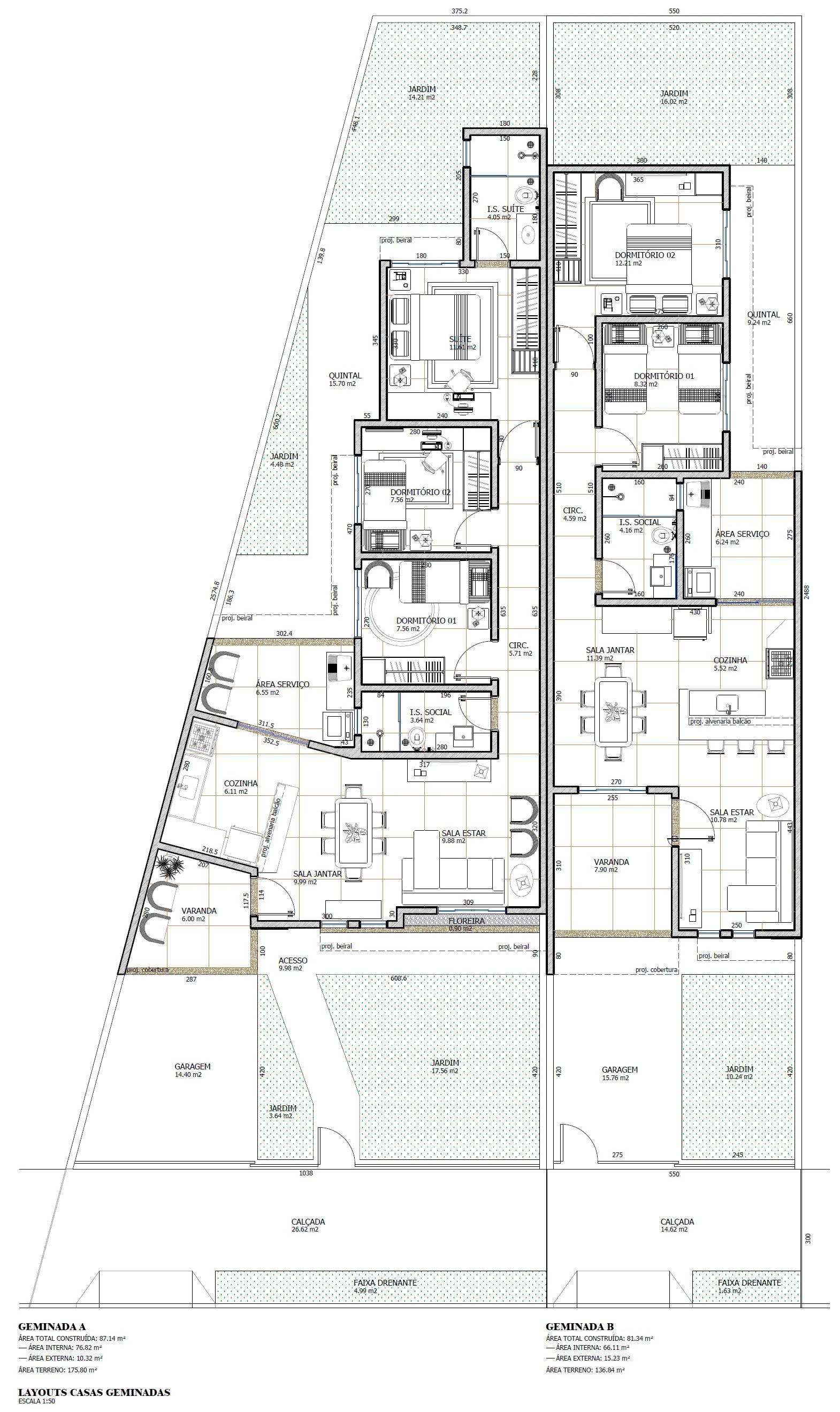 """<p style=""""margin-left:0cm; margin-right:0cm""""><span style=""""font-size:11pt"""">Casas geminadas diferenciadas, com 87,00 m&sup2; e 81,00 m&sup2;, sendo uma com 2 dormit&oacute;rios, 1 su&iacute;te, sala de estar, jantar e cozinha integradas, banheiro social e &aacute;rea de servi&ccedil;o; e outra com 2 dormit&oacute;rios, sala de estar, jantar e cozinha integradas, banheiro social e &aacute;rea de servi&ccedil;o.</span></p>"""